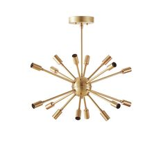 Vintage inspired 16 light raw brass sputnik chandelier delivers complete with canopy, articulating hang straight for vaulted / slanted ceilings,