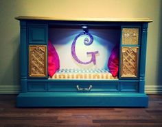www.facebook.com/missmagicalmadness  Fancy dog bed made from old vintage tv Turquoise Gold & Pink