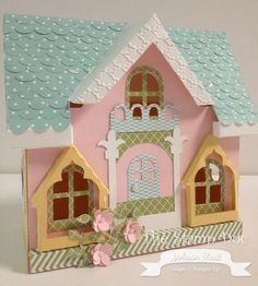 The PEONY COTTAGE SVG KIT is so fun and here you can see Melissa's Victorian touches with the sweet colors she used!  The Peony Cottage has a removable top so you can use it as a box or a little girl can play house inside!  How adorable is that!