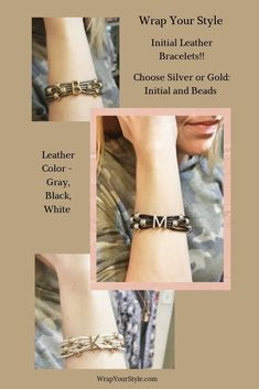Initials surrounded by matching beads on leather bracelets. Choose silver or gold. Choose color of the leather. These all have magnetic clasps too. #wrapyourstyle #initialbracelets #initialjewelry #personalized jewelry