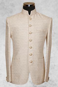 #Beige presentable #silk with bandhgala collar-ST497