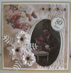 Handmade Lisa Schelvis Paper Frames, Flower Cards, I Card, Birthdays, Lisa, Simple, Flowers, Handmade, Home Decor