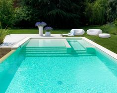 Natural Swimming Pools, Swimming Pools Backyard, Swimming Pool Designs, Pool Decks, Pool Landscaping, Pool Spa, Moderne Pools, Pool Colors, Rectangular Pool