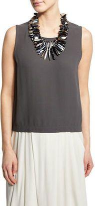 Shop Now - >  https://api.shopstyle.com/action/apiVisitRetailer?id=520697503&pid=uid6996-25233114-59 Eileen Fisher Sleeveless Short Silk Shell  ...