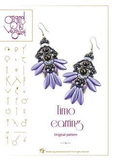Beading tutorial / pattern Timo earring. Beading instruction in PDF – for personal use only by beadsbyvezsuzsi on Etsy