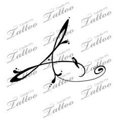 Marketplace Tattoo Letter A and Bird #6874   CreateMyTattoo.com