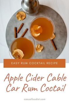 This Apple Cider Cable Car Cocktail is easy to make and a great drink for fall. This rum cocktail uses just four ingredients and is a great twist on a classic cocktail. Cocktail Recipes | Cocktail Ideas | Apple Cider Cocktail Ideas | Rum Cocktail Recipe | Rum Cocktail Idea | Fall Cocktails Apple Cider Cocktail, Cider Cocktails, Fall Cocktails, Classic Cocktails, Best Gluten Free Recipes, Quick Recipes, Apple Recipes, Other Recipes, Healthy Recipes
