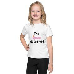 The Queen Has Arrived- Girls Kids T-Shirt #summer #GirlsTee #KidsClothes #GirlsTShirts #kids #TShirts #KidsClothing #queen #princess #KidsTee Girls Tees, Shirts For Girls, Kids Shirts, Toddler Baseball Shirt, Girls Christmas Shirts, Textiles, Vinyl Shirts, Personalized Shirts, Birthday Shirts