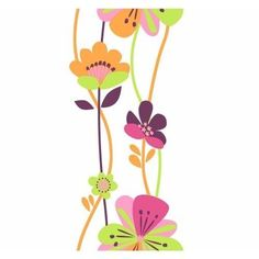 York Wallcoverings KS2235 Cool Kids Large Floral Stripe Wallpaper