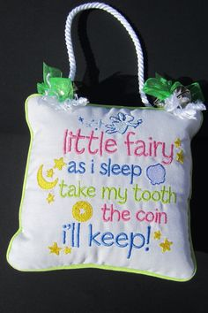 Green Tooth Little Fairy Pillow with pocket - pinned by pin4etsy.com