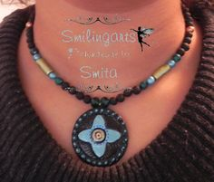 Terracotta NecklaceBlue by Smilingarts on Etsy, $35.00