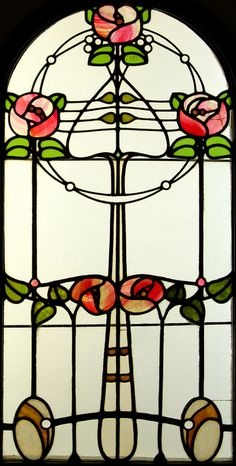 """mote-historie: """" Stained Glass Window by Róth Miksa (Hungarian, Art Nouveau """" Stained Glass Tattoo, Stained Glass Flowers, Stained Glass Designs, Stained Glass Panels, Stained Glass Projects, Stained Glass Patterns, Leaded Glass, Stained Glass Art, Mosaic Glass"""