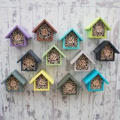 Handmade Single Tier Bee Hotel - These colourful bee houses are rather nice. Effective pictures we provide you about diy A high-q - Bug Hotel, Carpenter Bee Trap, Bee Traps, Mason Bees, Bee House, Bird Boxes, Save The Bees, Bee Keeping, Garden Projects