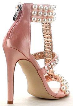 87005766e069 CAPE ROBBIN Lola-32 Pearls T Strap Stiletto High Heel Open Toe Satin Sandal  Shoe