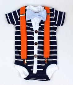 Preppy Baby Boy - Cardigan and Bow Tie Onesie Set  Navy with Seersucker  by HaddonCo