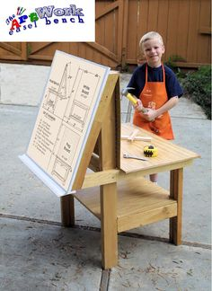 the ArtWork workbench allows kids to design , paint, make #crafts use tools and work with their hands all on same easel / workbench. Visit the ArtWork page and download the PDF plans to build your own. #DIY Furniture for Woodworking and great for kids crafts and kids activities.