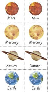 Free watercolor planet memory game for preschool and early elementary. This is a great way to learn the planets and test your brain skills! Simply print, cut, and laminate (if you want) to make them last a lifetime!