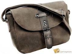 Vintage  Schultertasche 31cm Retro Leder Handtasche Umhänger Braun Außentasche