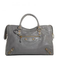 BALENCIAGA Agneau Giant 12 Gold City Gris Pyrite ❤ liked on Polyvore featuring bags, handbags, gold purse, white handbags, white purse, white bags and buckle purses