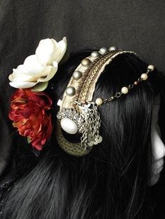 Tribal Fusion Belly Dance Headpiece- Vintage Pearl
