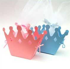 Caixas de presente da coroa.  Festa do bebé, festa de anos, saco do presente, favor.  Princesa Príncipe