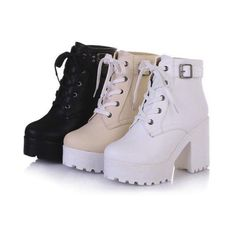 Womens Punk Chunky Heel Platform Ankle Boots lace Up Buckle Strap Motor Shoes SZ