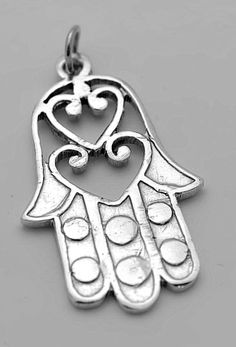 Heart love Hamsa Hand of Fatima Kabbalah Evil Eye Protect Sterling silver charm