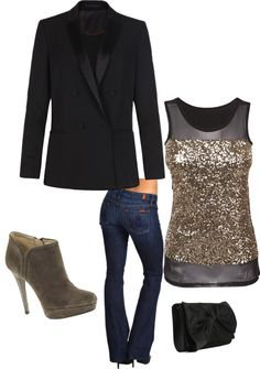 """Christmas party outfit"" by yjmauney on Polyvore this would be perfect for just a night out too! I need to get some shoes like that?"