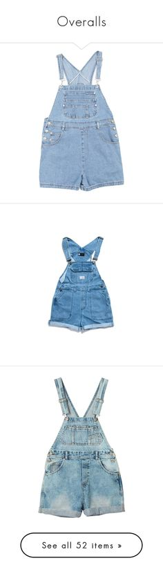 """Overalls"" by aria-97 ❤ liked on Polyvore featuring jumpsuits, rompers, overalls, shorts, bottoms, dresses, blue rompers, blue overalls, bib overalls and overall"