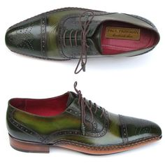 Paul parkman men's side handsewn captoe oxfords green (id#5032-green) ($569) ❤ liked on Polyvore featuring men's fashion, men's shoes, men's oxfords, mens cap toe shoes, mens leather sole shoes, mens brogue shoes, mens green leather shoes and mens green shoes