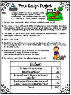 Design a Park Project & Task Cards- Area and Perimeter Area And Perimeter Worksheets, Measurement Activities, Parking Design, Rubrics, Task Cards, Knowledge, Student, Teaching, Amp