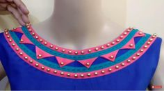 In this tutorial, I show a very beautiful Rajasthani look boat neck design in a very easy way. DIY: Recycled Newspaper Temple at Home Churidhar Neck Designs, Salwar Neck Designs, Kurta Neck Design, Fancy Blouse Designs, Blouse Neck Designs, Kurta Designs, Dress Designs, Boat Neck Kurti, Kurti Embroidery Design