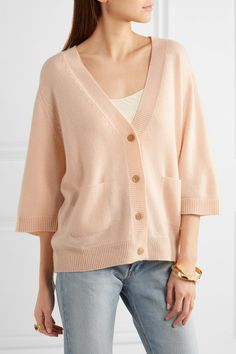 Peach cashmere Button fastenings through front  100% cashmere Dry clean Imported