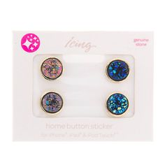 Blue and Purple Druzy Quartz Home Button Stickers for iPhone, iPad and iPod Touch Set of 4