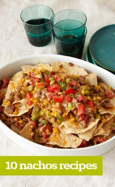 10 Nachos Recipes — If you think nachos are just for fiestas, think again! Our nachos recipes also include quick and easy dinners, too—with quick skillet dishes, cheesy nacho casseroles and nacho entrée salads. Beef Casserole Recipes, Ground Beef Casserole, Beef Recipes, Baking Recipes, Snack Recipes, Snacks, Nacho Casserole, Family Recipes, Dinner Recipes