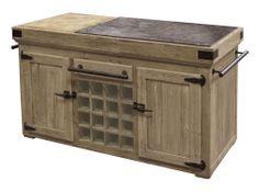Distressed Pine Kitchen Island Counter Bluestone Top with Butcher Block