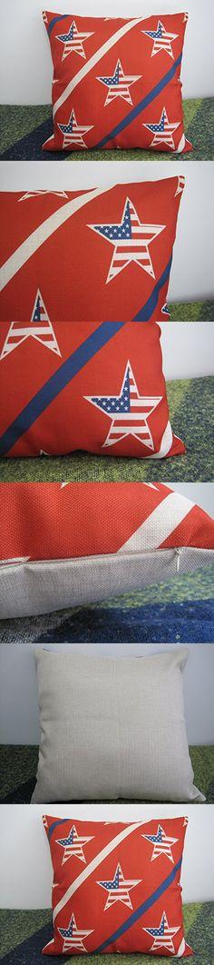 Home Decor Design Throw Pillow Cover National Flag Pillow Case 18 x 18 Inch Cotton Linen For Sofa (Star Flag)