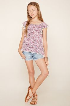 Forever 21 Girls – A woven top with cap sleeves, an elasticized neckline, an allover floral print, and scalloped crochet trim. Cute Little Girls Outfits, Girly Girl Outfits, Little Girl Models, Preteen Girls Fashion, Kids Fashion, Women's Fashion, Forever 21 Girls, Shop Forever, Teen Girl Poses