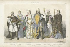 Frankish kings and queens of the Carolingian dynasty. Pepin the Short and Bertrada of Laon; Charlemagne and Hildegard; Louis the Pious and Judith of Bavaria. Illustration from Les Rois et Reines de France, Maison Martinet, Paris, c1880.