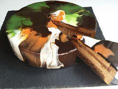 Mirror glaze cake with coffee mousse