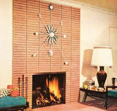 Retro living room. Atomic starburst clock on modern brick fireplace, mid century modern, Eames