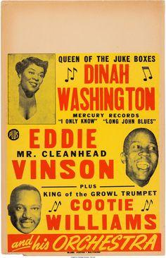 Dinah Washington Concert Poster (1950). Rare.... Music | Lot #89188 | Heritage Auctions