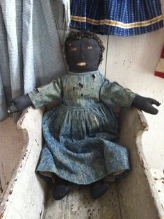 19Th C Early Black Cloth Doll with mitten hands and wool hair in original cloths..1800primitives