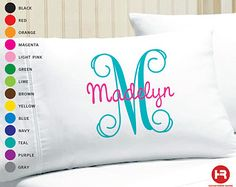 Monogram Pillowcase Girls Personalized Pillow by OneWhimsyChick