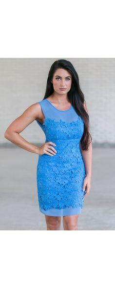 Lily Boutique The Crochet Lace Mesh Illusion Neckline Dress in Blue, $46 Bright…