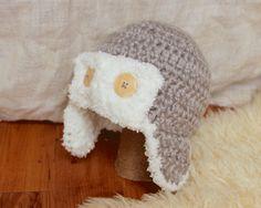 Aviator Style Double layer crochet hat