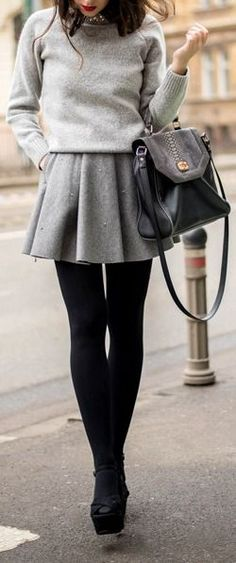6 super stylish winter outfits with a gray wool dress - View more at women-outfits.com