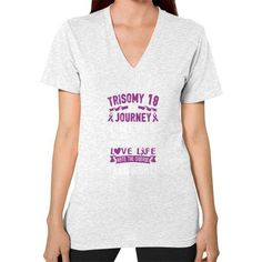 I NEVER TRISOMY 18 V-Neck (on woman)