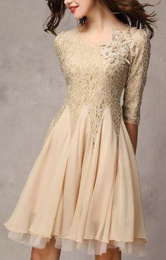 Chiffon and lace latte dress