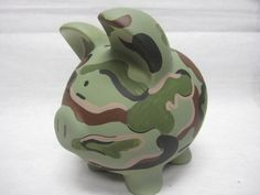 Personalized Piggy Bank Camoflauge by ThisLittlePiggieBank on Etsy, $32.00